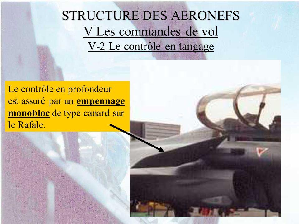 STRUCTURE DES AERONEFS STRUCTURE DES AERONEFS V Les commandes de vol V-2 Le contrôle en tangage Le contrôle en profondeur est assuré par un empennage