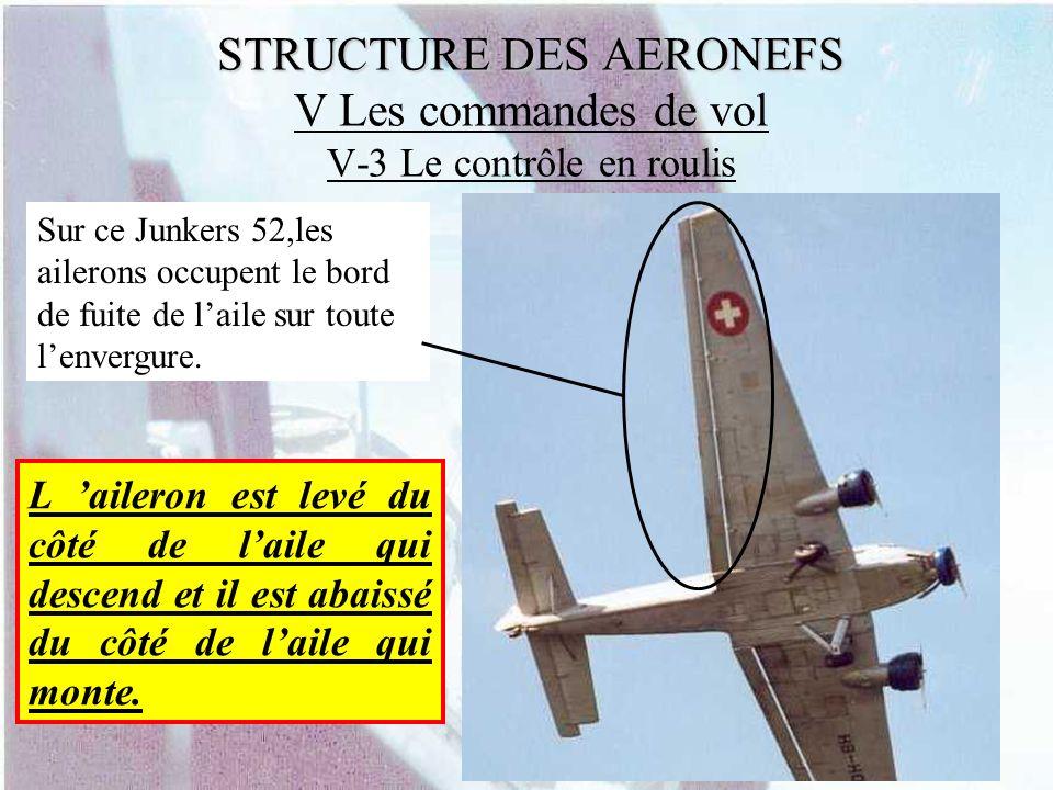 STRUCTURE DES AERONEFS STRUCTURE DES AERONEFS V Les commandes de vol V-3 Le contrôle en roulis Sur ce Junkers 52,les ailerons occupent le bord de fuit