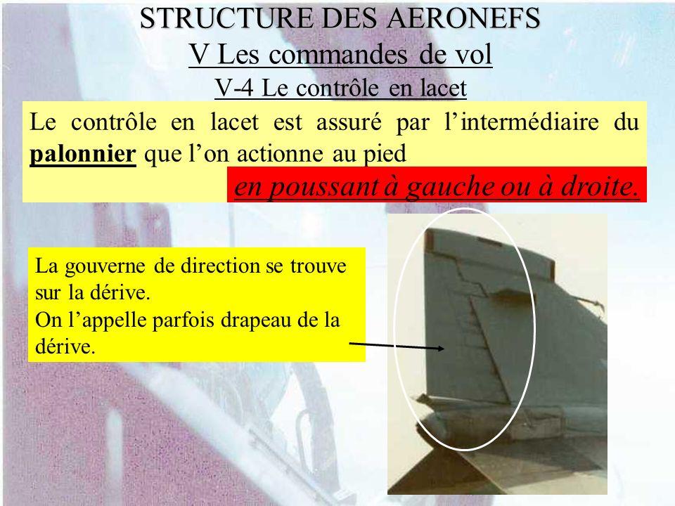 STRUCTURE DES AERONEFS STRUCTURE DES AERONEFS V Les commandes de vol V-4 Le contrôle en lacet Le contrôle en lacet est assuré par lintermédiaire du pa