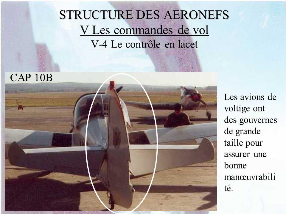 STRUCTURE DES AERONEFS STRUCTURE DES AERONEFS V Les commandes de vol V-4 Le contrôle en lacet Les avions de voltige ont des gouvernes de grande taille