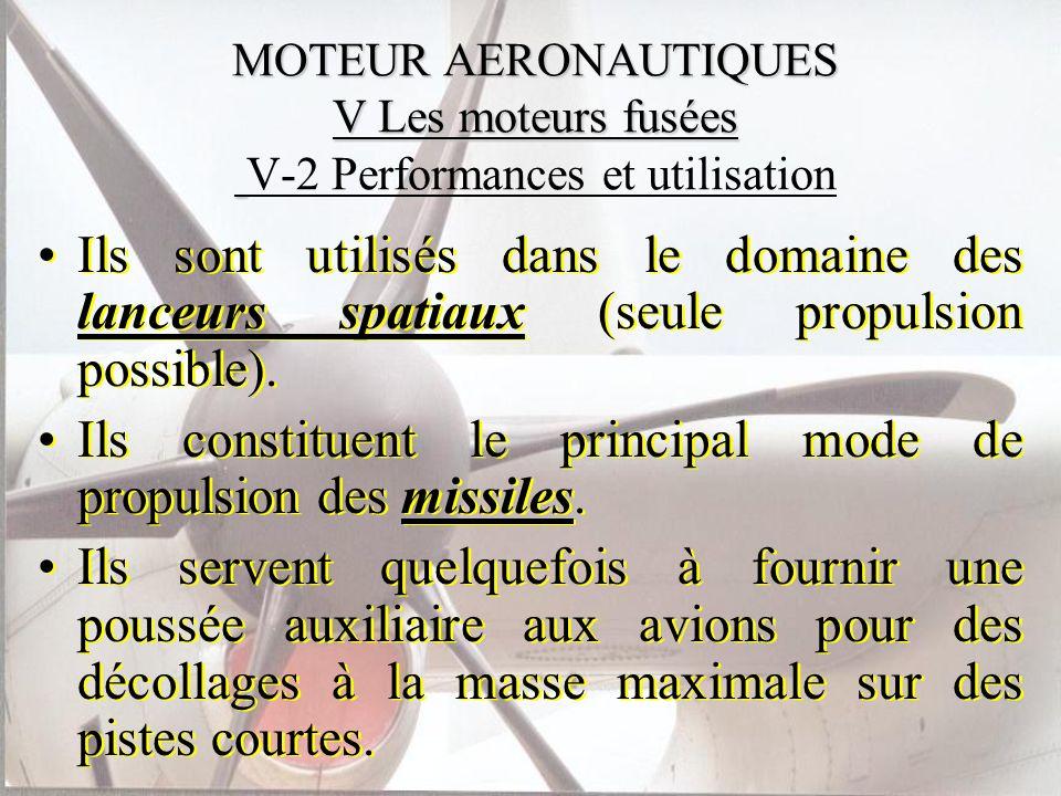 MOTEUR AERONAUTIQUES V Les moteurs fusées MOTEUR AERONAUTIQUES V Les moteurs fusées V-2 Performances et utilisation Ils sont utilisés dans le domaine