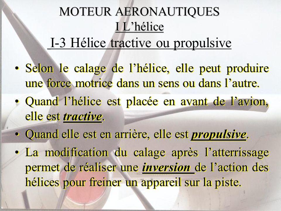 MOTEUR AERONAUTIQUES I Lhélice MOTEUR AERONAUTIQUES I Lhélice I-3 Hélice tractive ou propulsive Selon le calage de lhélice, elle peut produire une for