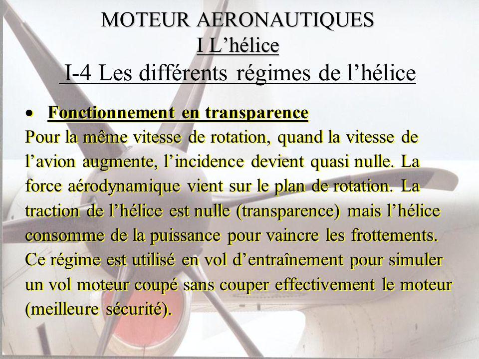 MOTEUR AERONAUTIQUES I Lhélice MOTEUR AERONAUTIQUES I Lhélice I-4 Les différents régimes de lhélice Fonctionnement en transparence Pour la même vitess