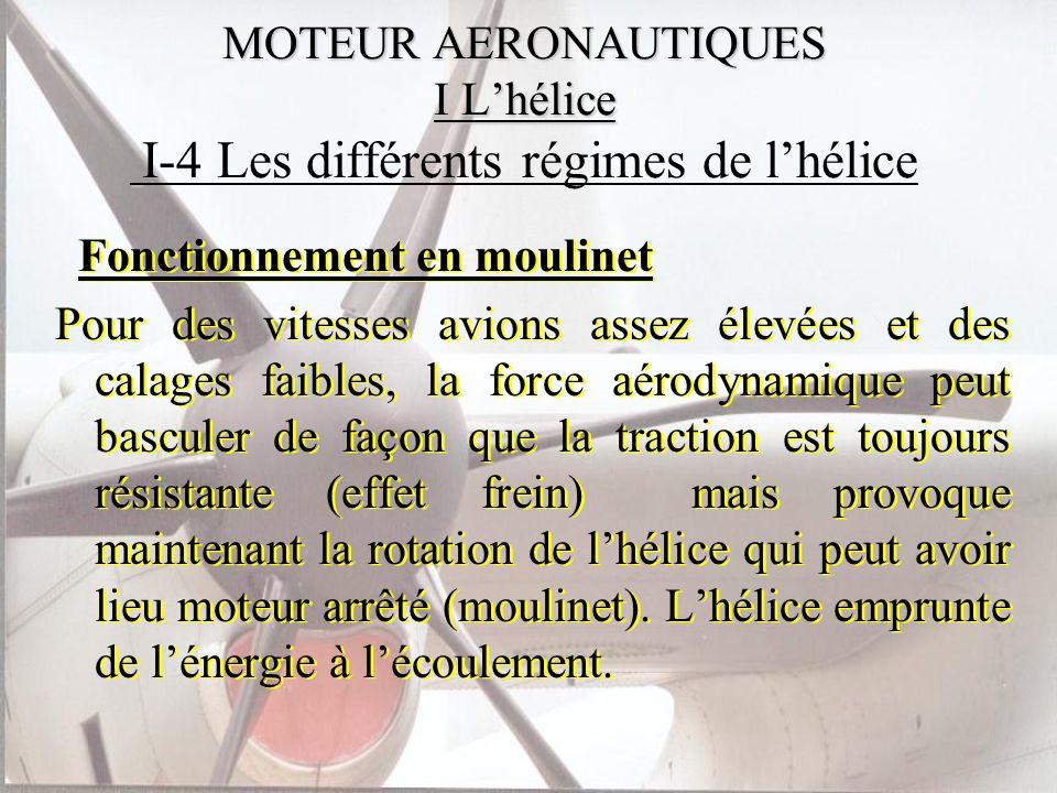 MOTEUR AERONAUTIQUES I Lhélice MOTEUR AERONAUTIQUES I Lhélice I-4 Les différents régimes de lhélice Fonctionnement en moulinet Pour des vitesses avion