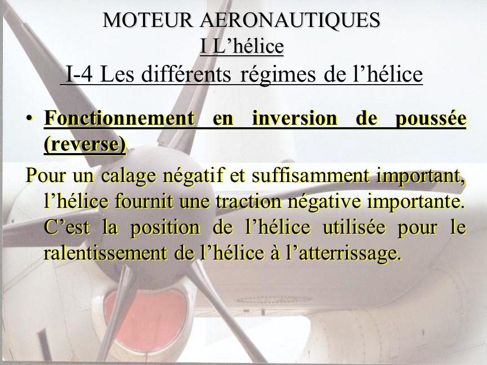 MOTEUR AERONAUTIQUES I Lhélice MOTEUR AERONAUTIQUES I Lhélice I-4 Les différents régimes de lhélice Fonctionnement en inversion de poussée (reverse) P