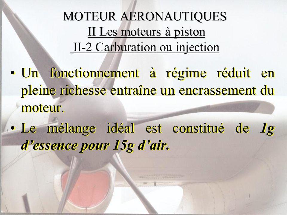 MOTEUR AERONAUTIQUES II Les moteurs à piston MOTEUR AERONAUTIQUES II Les moteurs à piston II-2 Carburation ou injection Un fonctionnement à régime réd