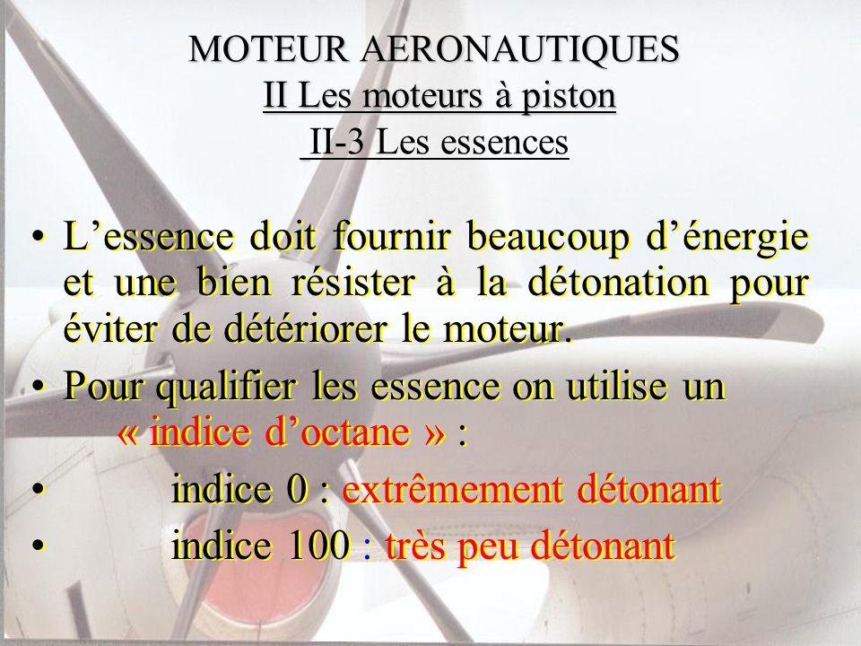MOTEUR AERONAUTIQUES II Les moteurs à piston MOTEUR AERONAUTIQUES II Les moteurs à piston II-3 Les essences Lessence doit fournir beaucoup dénergie et