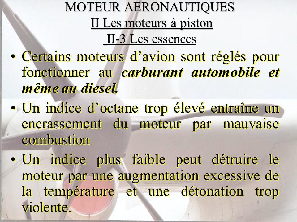 MOTEUR AERONAUTIQUES II Les moteurs à piston MOTEUR AERONAUTIQUES II Les moteurs à piston II-3 Les essences Certains moteurs davion sont réglés pour f