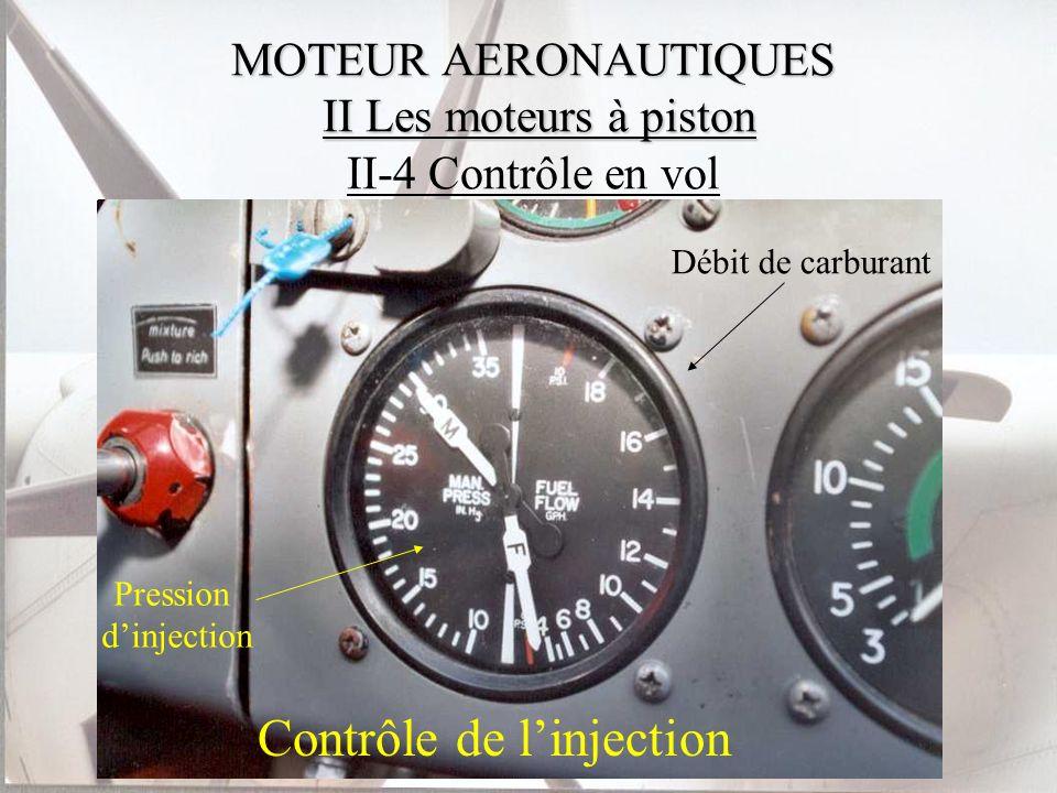 MOTEUR AERONAUTIQUES II Les moteurs à piston MOTEUR AERONAUTIQUES II Les moteurs à piston II-4 Contrôle en vol Contrôle de linjection Pression dinject