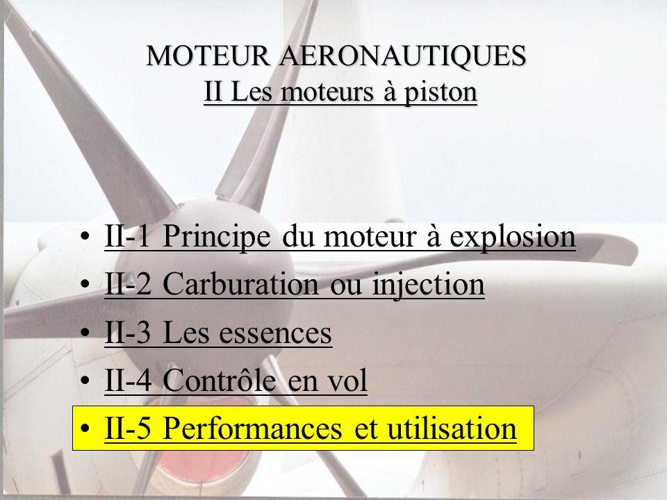 MOTEUR AERONAUTIQUES II Les moteurs à piston II-1 Principe du moteur à explosion II-2 Carburation ou injection II-3 Les essences II-4 Contrôle en vol