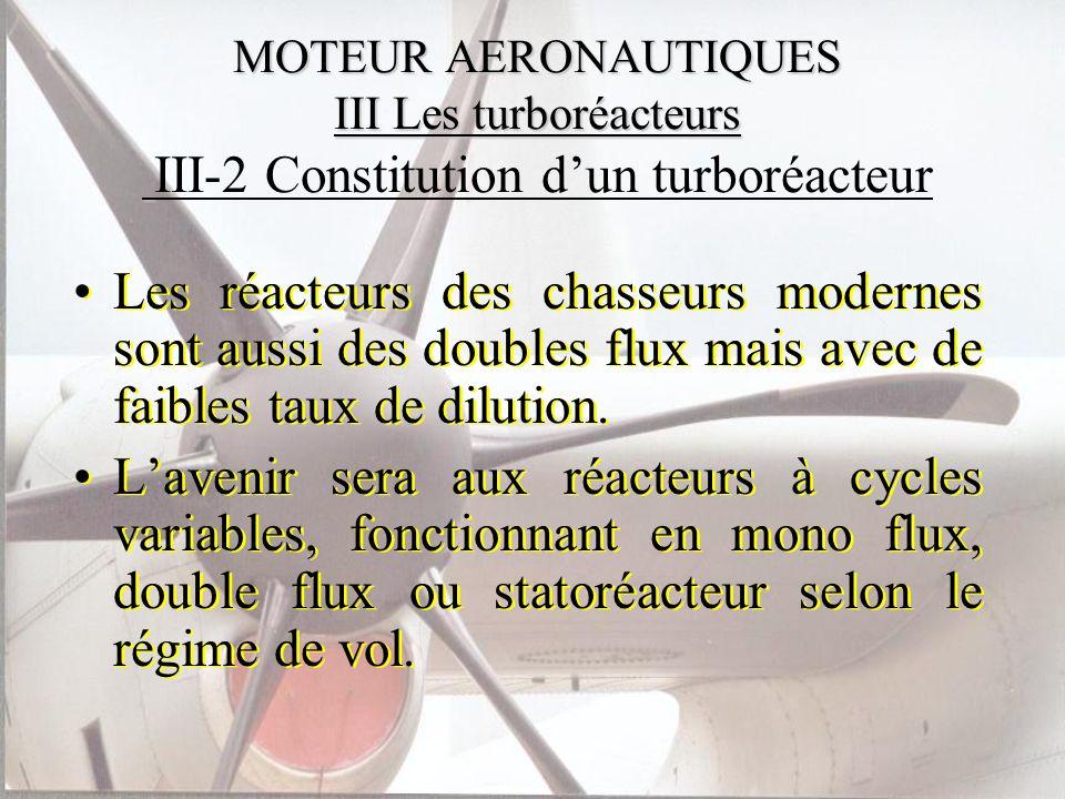 MOTEUR AERONAUTIQUES III Les turboréacteurs MOTEUR AERONAUTIQUES III Les turboréacteurs III-2 Constitution dun turboréacteur Les réacteurs des chasseu