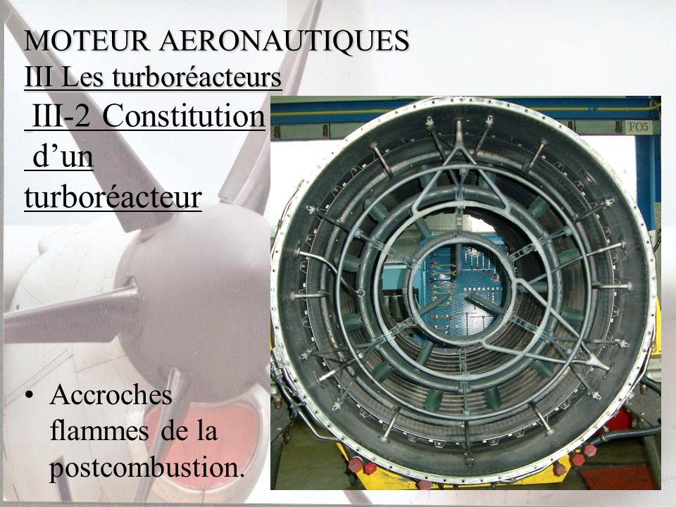 MOTEUR AERONAUTIQUES III Les turboréacteurs MOTEUR AERONAUTIQUES III Les turboréacteurs III-2 Constitution dun turboréacteur Accroches flammes de la p