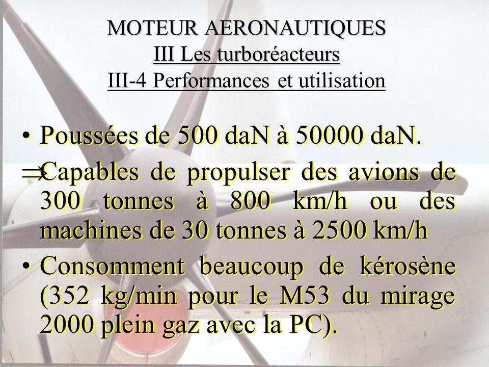 MOTEUR AERONAUTIQUES III Les turboréacteurs MOTEUR AERONAUTIQUES III Les turboréacteurs III-4 Performances et utilisation Poussées de 500 daN à 50000