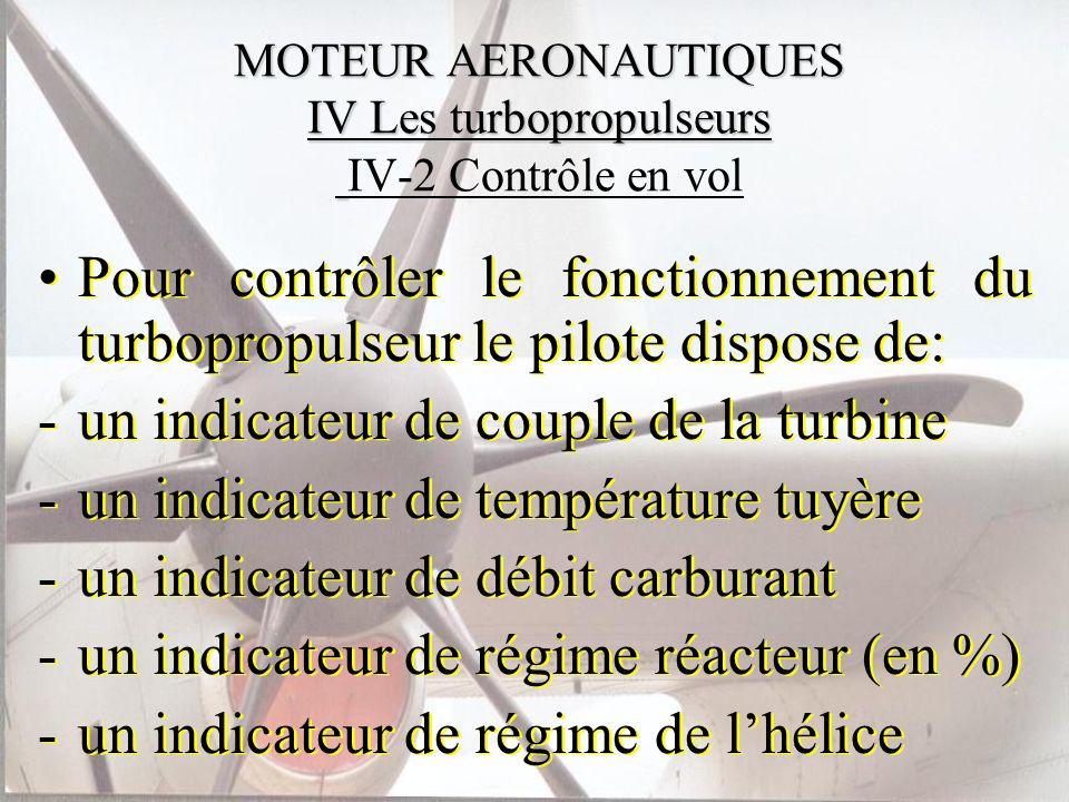 MOTEUR AERONAUTIQUES IV Les turbopropulseurs MOTEUR AERONAUTIQUES IV Les turbopropulseurs IV-2 Contrôle en vol Pour contrôler le fonctionnement du tur