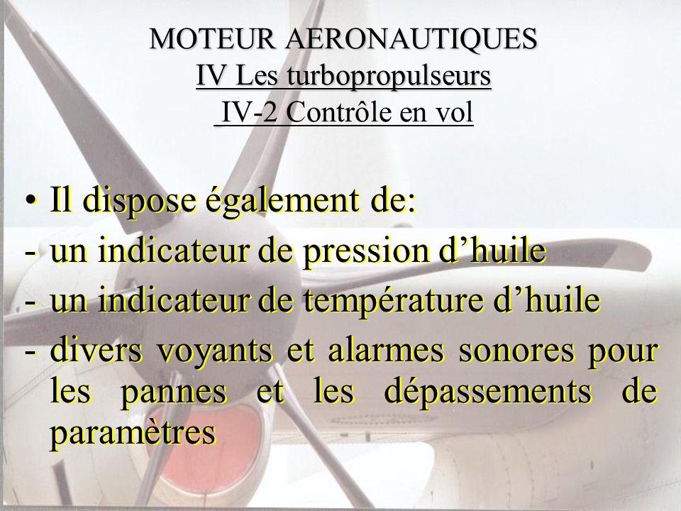 MOTEUR AERONAUTIQUES IV Les turbopropulseurs MOTEUR AERONAUTIQUES IV Les turbopropulseurs IV-2 Contrôle en vol Il dispose également de: -un indicateur
