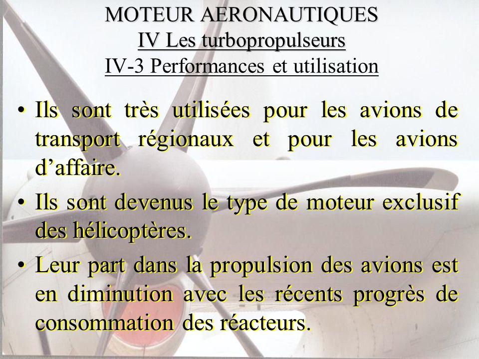 MOTEUR AERONAUTIQUES IV Les turbopropulseurs MOTEUR AERONAUTIQUES IV Les turbopropulseurs IV-3 Performances et utilisation Ils sont très utilisées pou