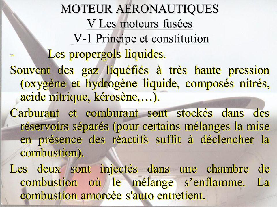 MOTEUR AERONAUTIQUES V Les moteurs fusées MOTEUR AERONAUTIQUES V Les moteurs fusées V-1 Principe et constitution - Les propergols liquides. Souvent de