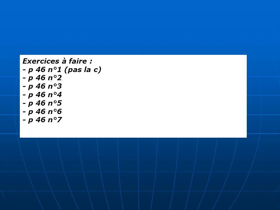 Exercices à faire : - p 46 n°1 (pas la c) - p 46 n°2 - p 46 n°3 - p 46 n°4 - p 46 n°5 - p 46 n°6 - p 46 n°7