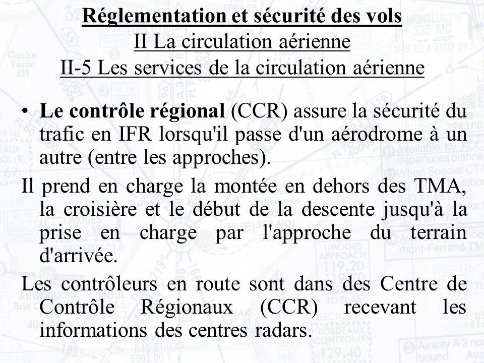 Le contrôle régional (CCR) assure la sécurité du trafic en IFR lorsqu il passe d un aérodrome à un autre (entre les approches).
