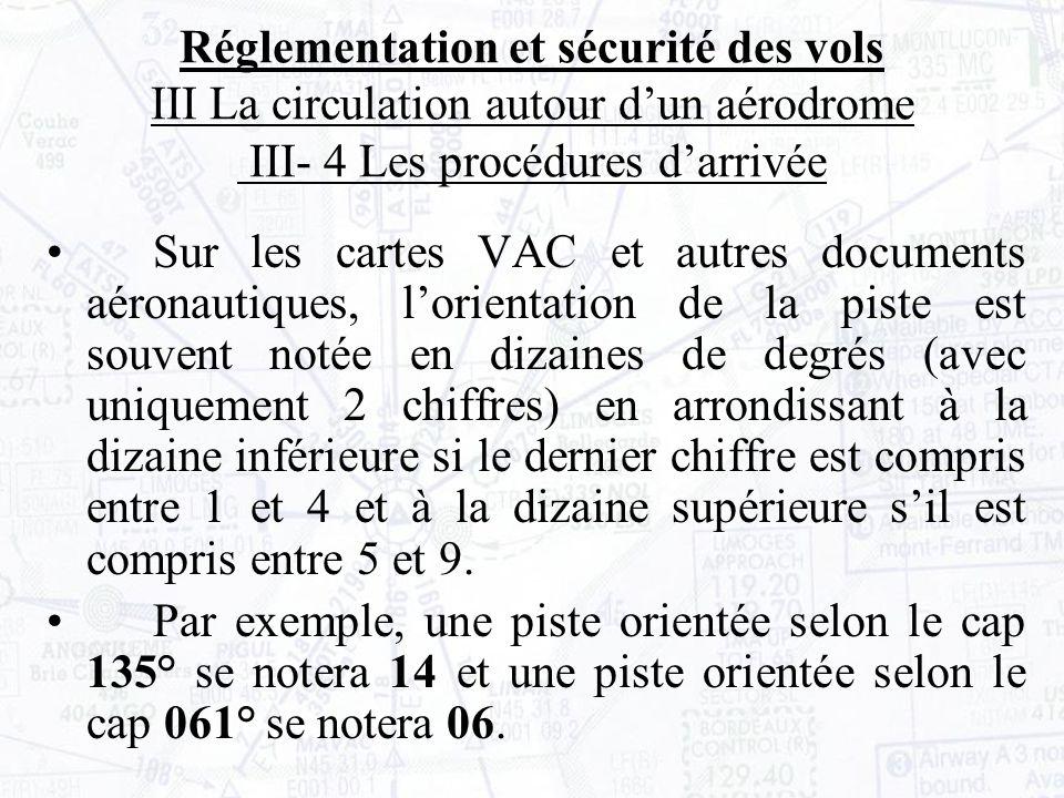 Sur les cartes VAC et autres documents aéronautiques, lorientation de la piste est souvent notée en dizaines de degrés (avec uniquement 2 chiffres) en arrondissant à la dizaine inférieure si le dernier chiffre est compris entre 1 et 4 et à la dizaine supérieure sil est compris entre 5 et 9.