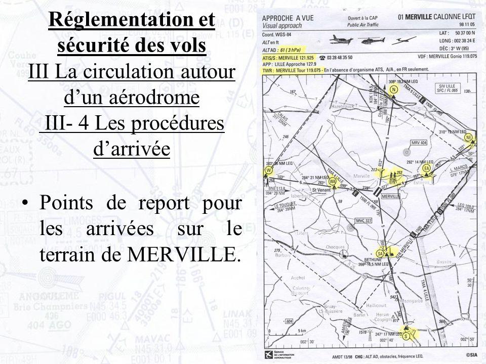 Points de report pour les arrivées sur le terrain de MERVILLE.