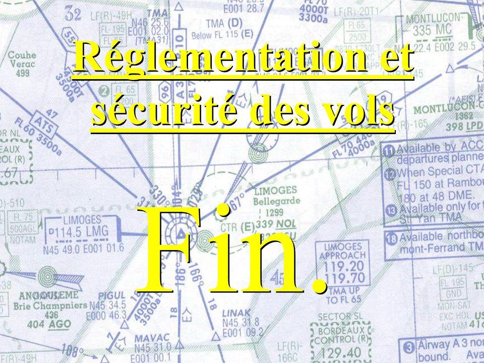 Fin. Réglementation et sécurité des vols