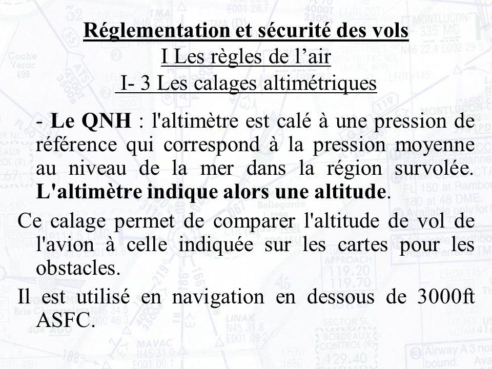 - Le QNH : l altimètre est calé à une pression de référence qui correspond à la pression moyenne au niveau de la mer dans la région survolée.
