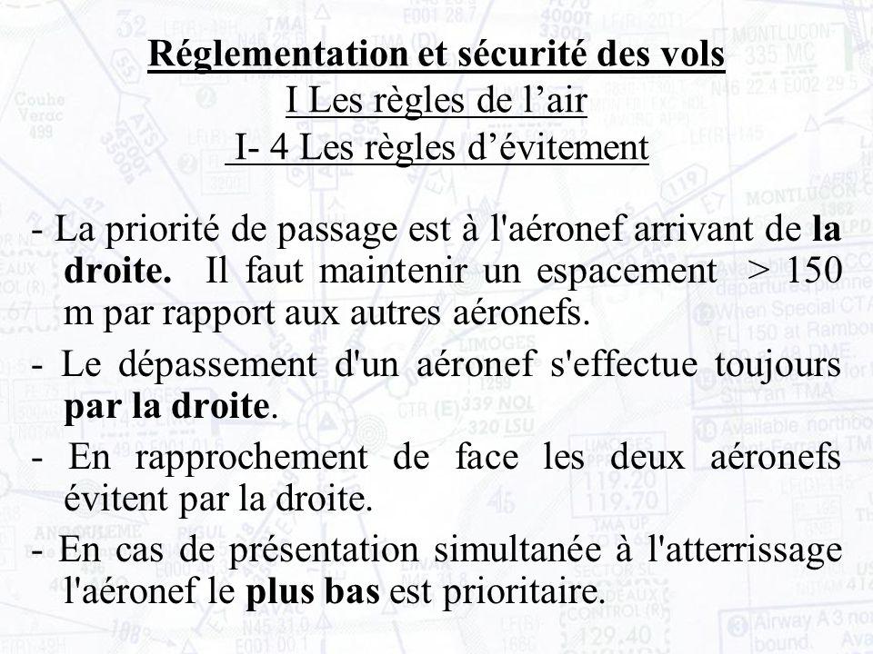 - La priorité de passage est à l aéronef arrivant de la droite.Il faut maintenir un espacement > 150 m par rapport aux autres aéronefs.
