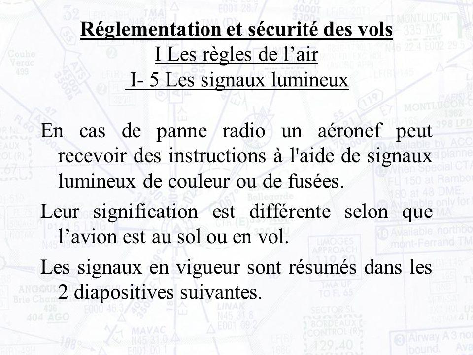 En cas de panne radio un aéronef peut recevoir des instructions à l aide de signaux lumineux de couleur ou de fusées.