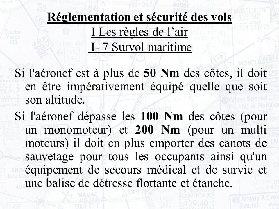 Si l aéronef est à plus de 50 Nm des côtes, il doit en être impérativement équipé quelle que soit son altitude.