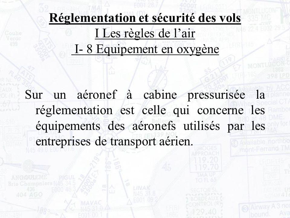 Sur un aéronef à cabine pressurisée la réglementation est celle qui concerne les équipements des aéronefs utilisés par les entreprises de transport aérien.