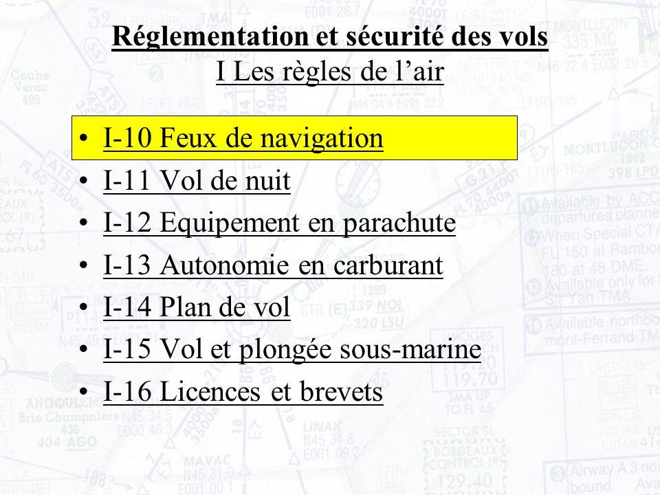 I-10 Feux de navigation I-11 Vol de nuit I-12 Equipement en parachute I-13 Autonomie en carburant I-14 Plan de vol I-15 Vol et plongée sous-marine I-16 Licences et brevets Réglementation et sécurité des vols I Les règles de lair