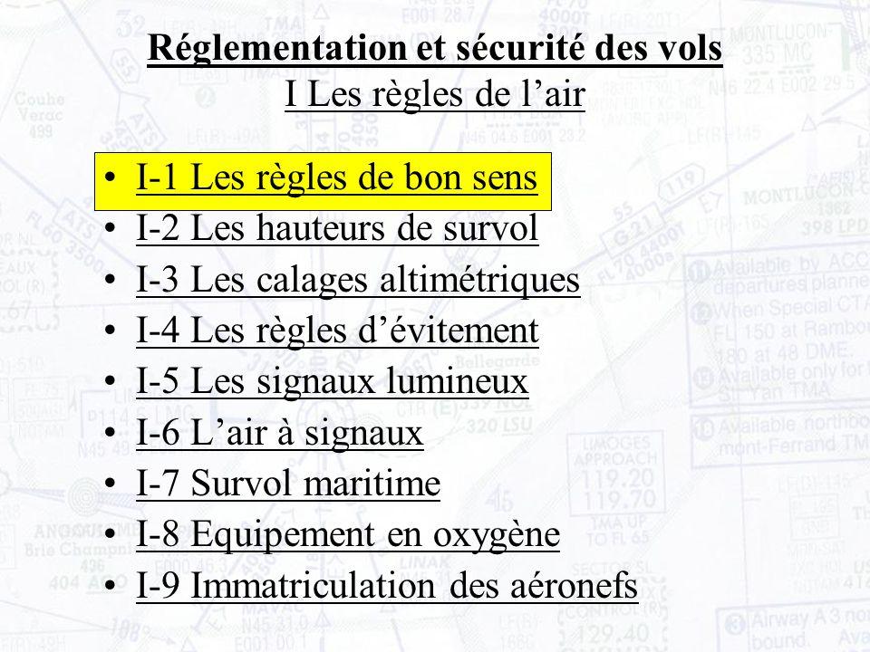 Réglementation et sécurité des vols I Les règles de lair I- 10 Feux de navigation Les avions doivent être équipés de feux de navigation afin dêtre mieux vus en vol, notamment par mauvaise visibilité et de nuit (où ils sont obligatoires).