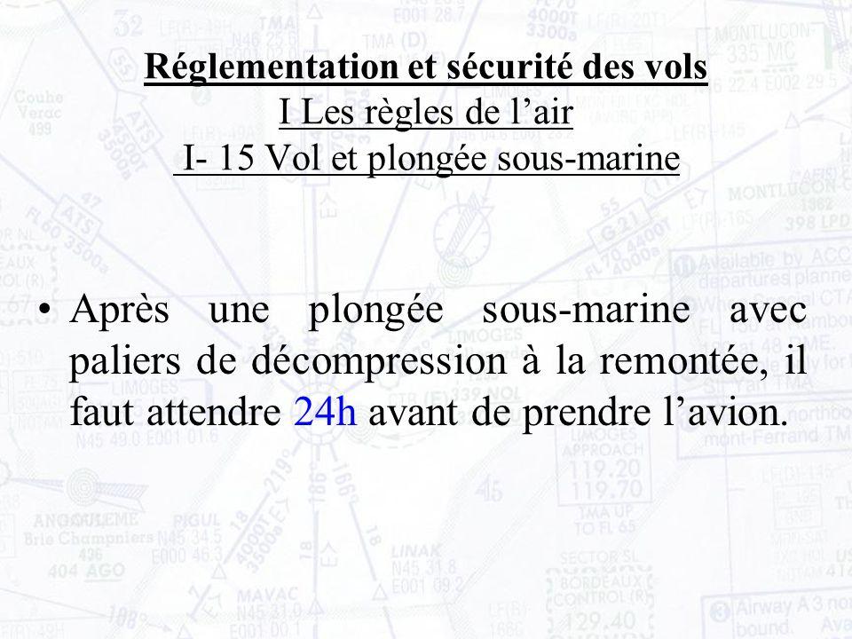 Réglementation et sécurité des vols I Les règles de lair I- 15 Vol et plongée sous-marine Après une plongée sous-marine avec paliers de décompression à la remontée, il faut attendre 24h avant de prendre lavion.