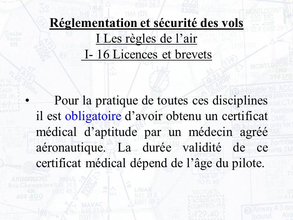 Réglementation et sécurité des vols I Les règles de lair I- 16 Licences et brevets Pour la pratique de toutes ces disciplines il est obligatoire davoir obtenu un certificat médical daptitude par un médecin agréé aéronautique.