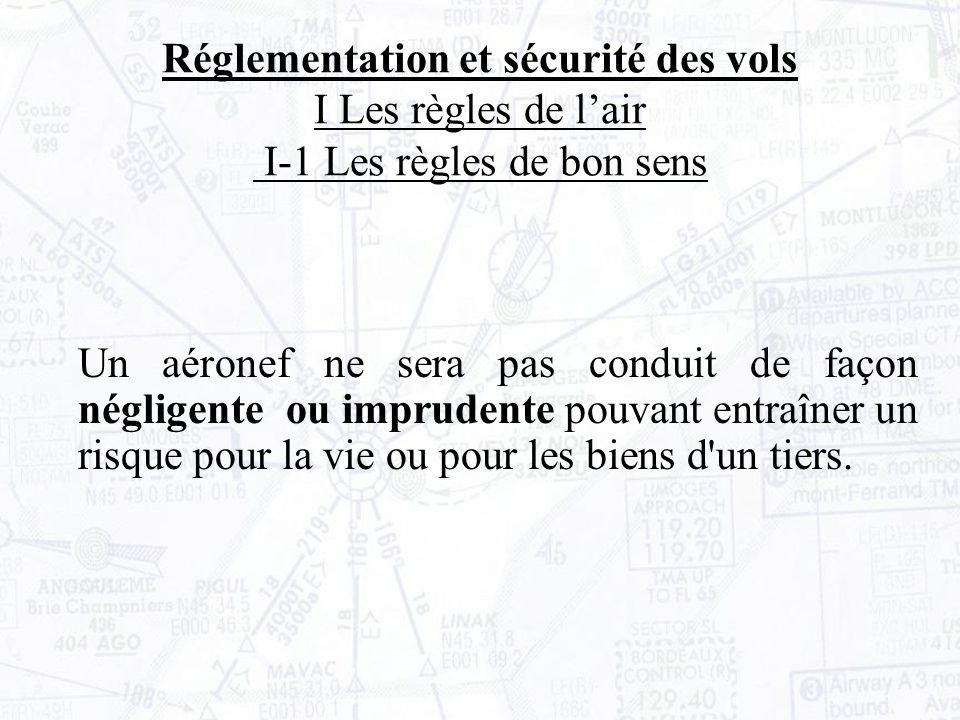 Réglementation et sécurité des vols II La circulation aérienne II- 2 Les classes despaces aériens En dessous du FL100, la visibilité doit être de 5km.