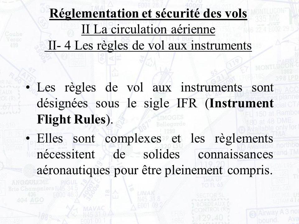 Les règles de vol aux instruments sont désignées sous le sigle IFR (Instrument Flight Rules).