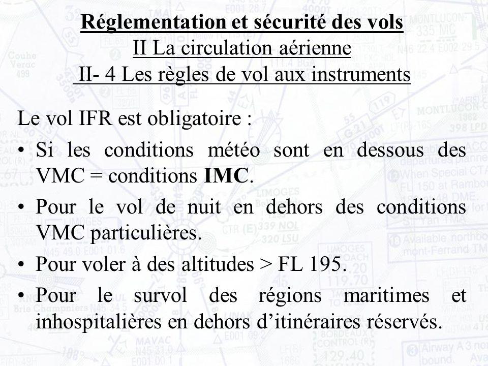 Le vol IFR est obligatoire : Si les conditions météo sont en dessous des VMC = conditions IMC.