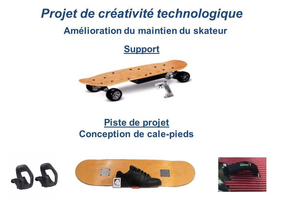 Projet de créativité technologique Piste de projet Conception de cale-pieds Amélioration du maintien du skateur Support