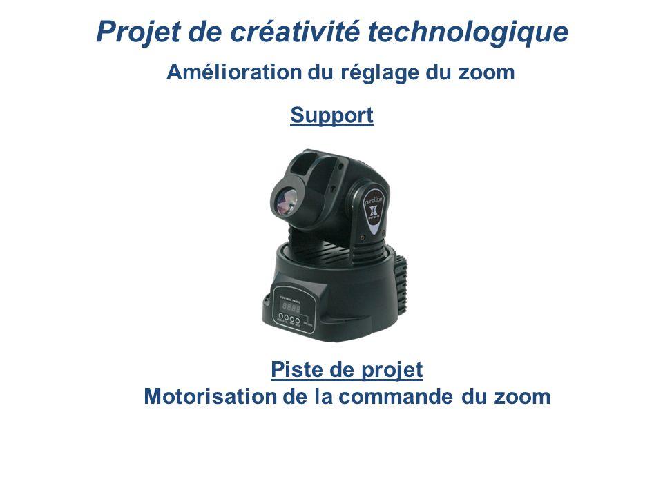 Projet de créativité technologique Amélioration du réglage du zoom Support Piste de projet Motorisation de la commande du zoom