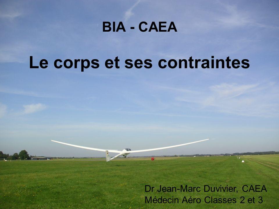 BIA - CAEA Le corps et ses contraintes Dr Jean-Marc Duvivier, CAEA Médecin Aéro Classes 2 et 3