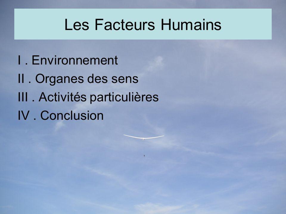 Les Facteurs Humains I.Environnement II. Organes des sens III.