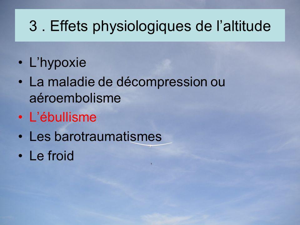 3. Effets physiologiques de laltitude Lhypoxie La maladie de décompression ou aéroembolisme Lébullisme Les barotraumatismes Le froid