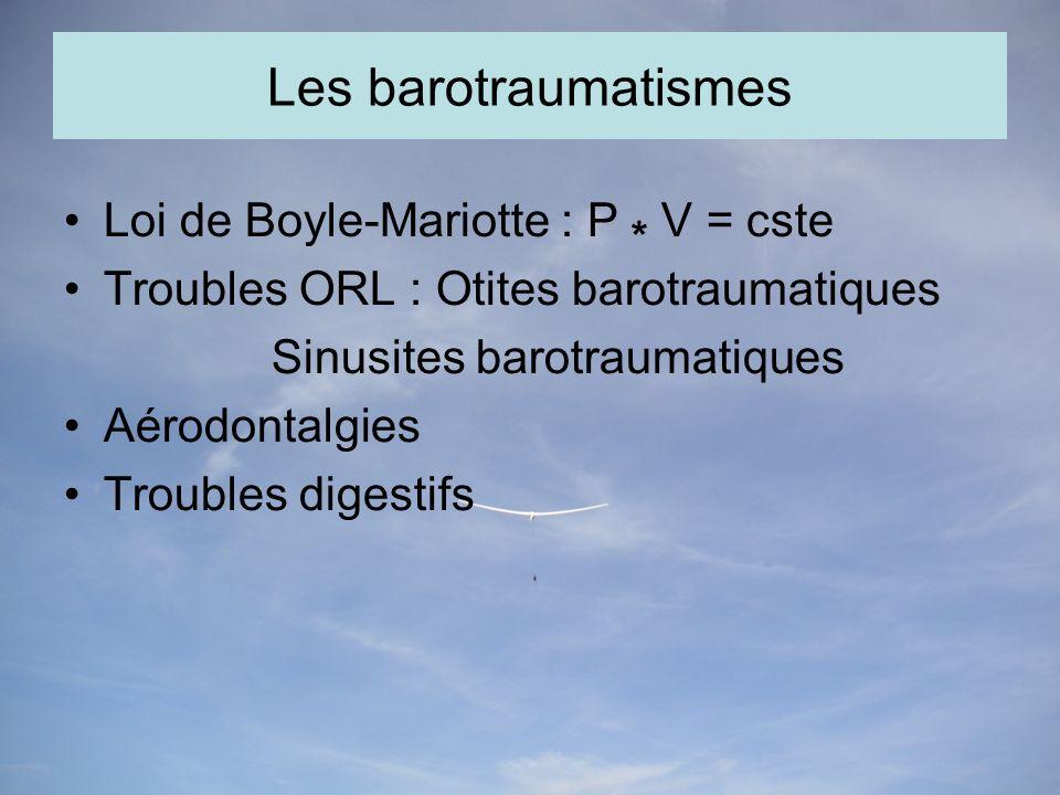 Les barotraumatismes Loi de Boyle-Mariotte : P * V = cste Troubles ORL : Otites barotraumatiques Sinusites barotraumatiques Aérodontalgies Troubles digestifs
