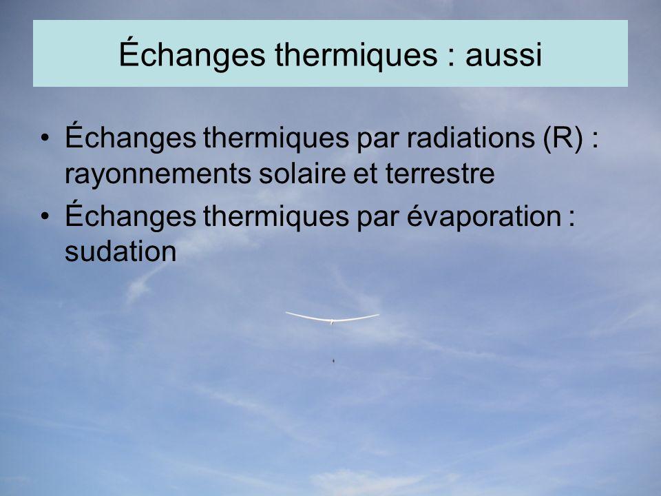 Échanges thermiques : aussi Échanges thermiques par radiations (R) : rayonnements solaire et terrestre Échanges thermiques par évaporation : sudation