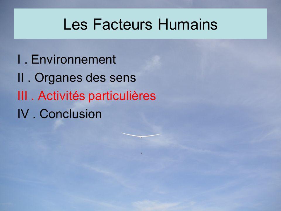 Les Facteurs Humains I. Environnement II. Organes des sens III.