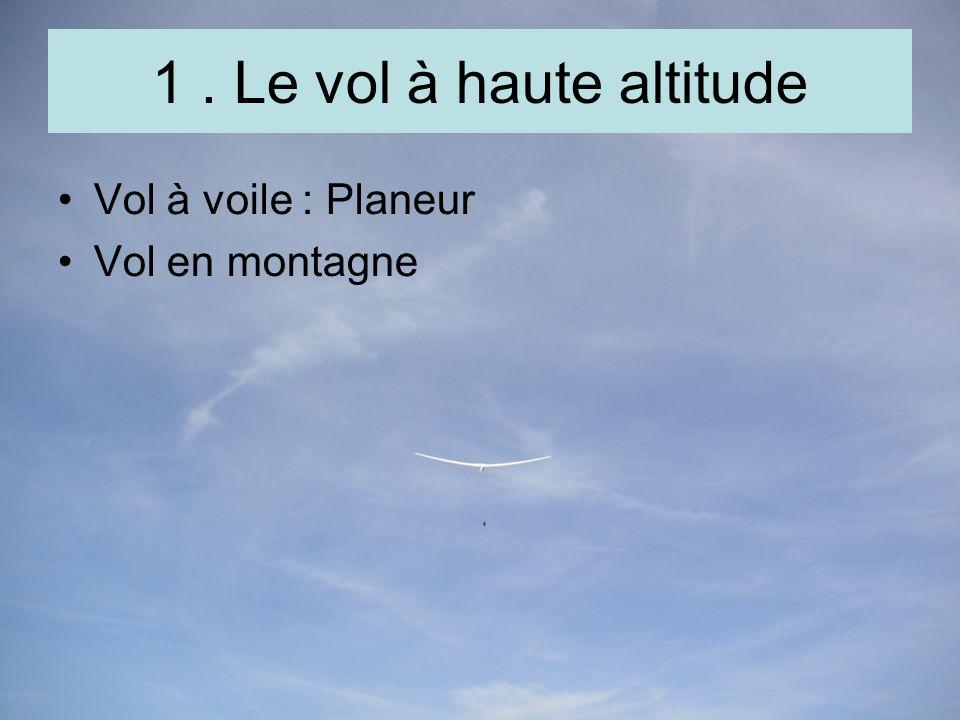 1. Le vol à haute altitude Vol à voile : Planeur Vol en montagne