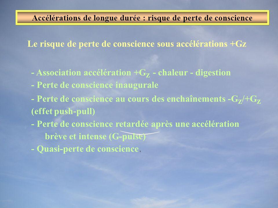 Le risque de perte de conscience sous accélérations +Gz - Association accélération +G Z - chaleur - digestion - Perte de conscience inaugurale - Perte de conscience au cours des enchaînements -G Z /+G Z (effet push-pull) - Perte de conscience retardée après une accélération brève et intense (G-pulse) - Quasi-perte de conscience Accélérations de longue durée : risque de perte de conscience