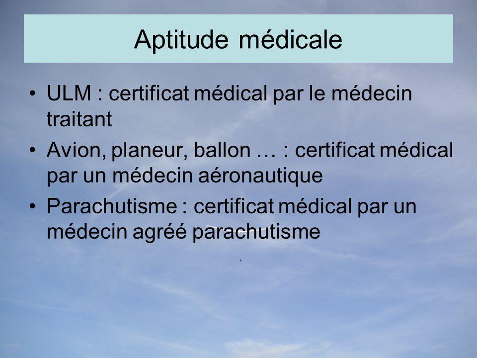 Aptitude médicale ULM : certificat médical par le médecin traitant Avion, planeur, ballon … : certificat médical par un médecin aéronautique Parachutisme : certificat médical par un médecin agréé parachutisme