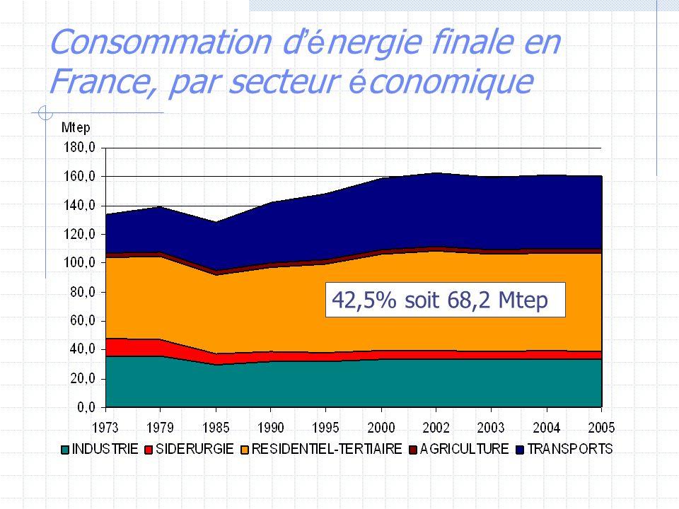 Consommation d é nergie finale en France, par secteur é conomique 42,5% soit 68,2 Mtep